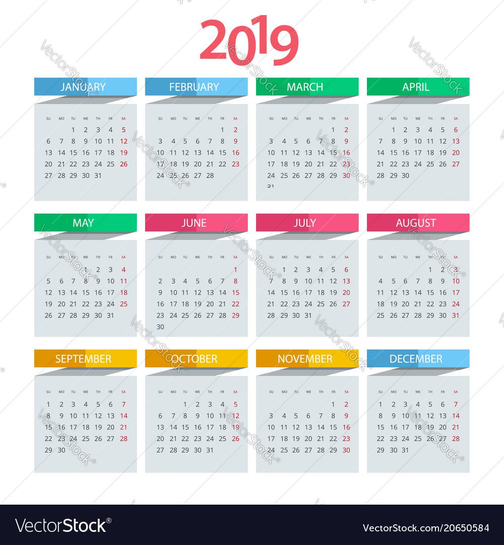 Calendar Design And Print : Calendar for year design print royalty free vector