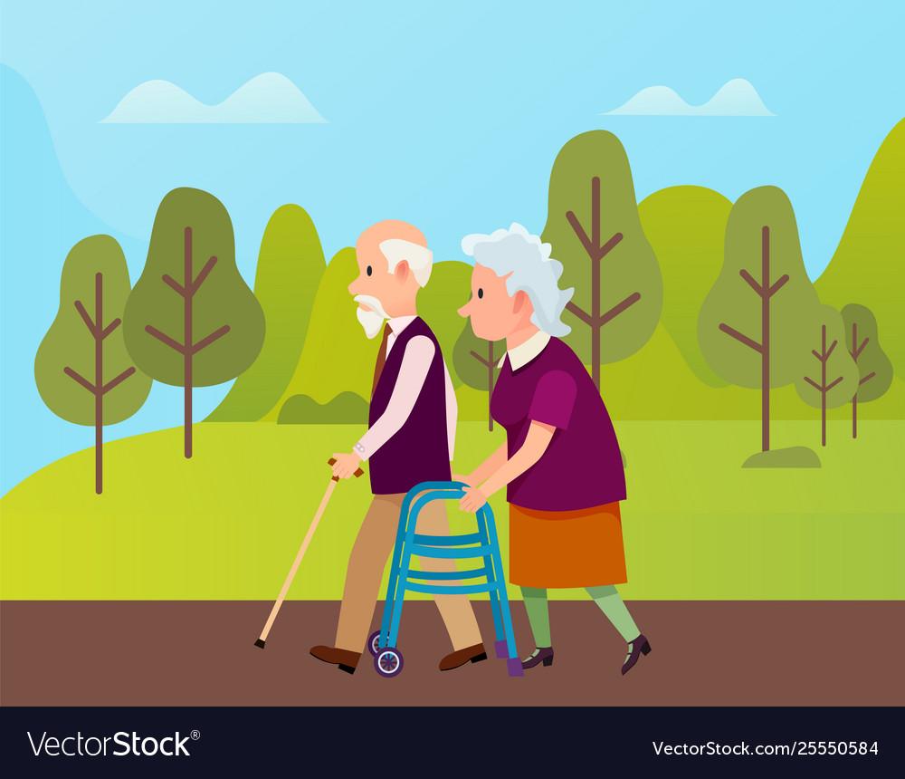 Elderly people in park seniors outdoor