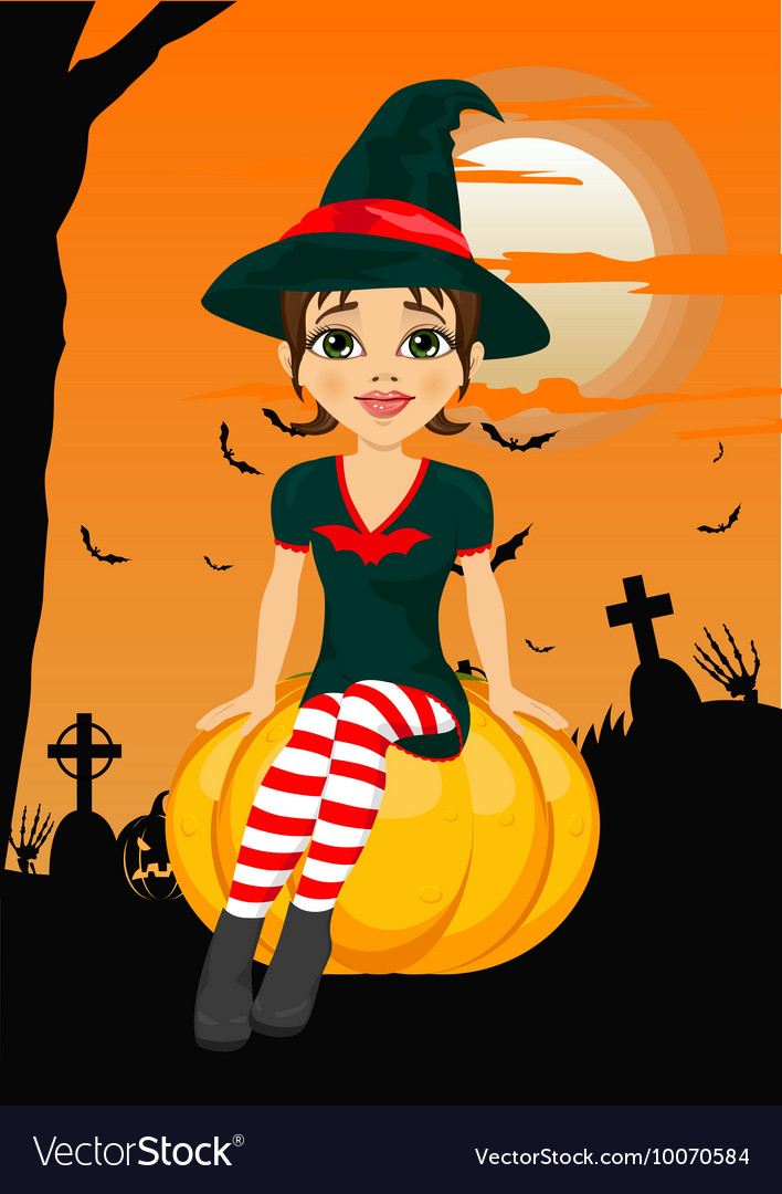 Halloween party with cute witch sitting on pumpkin