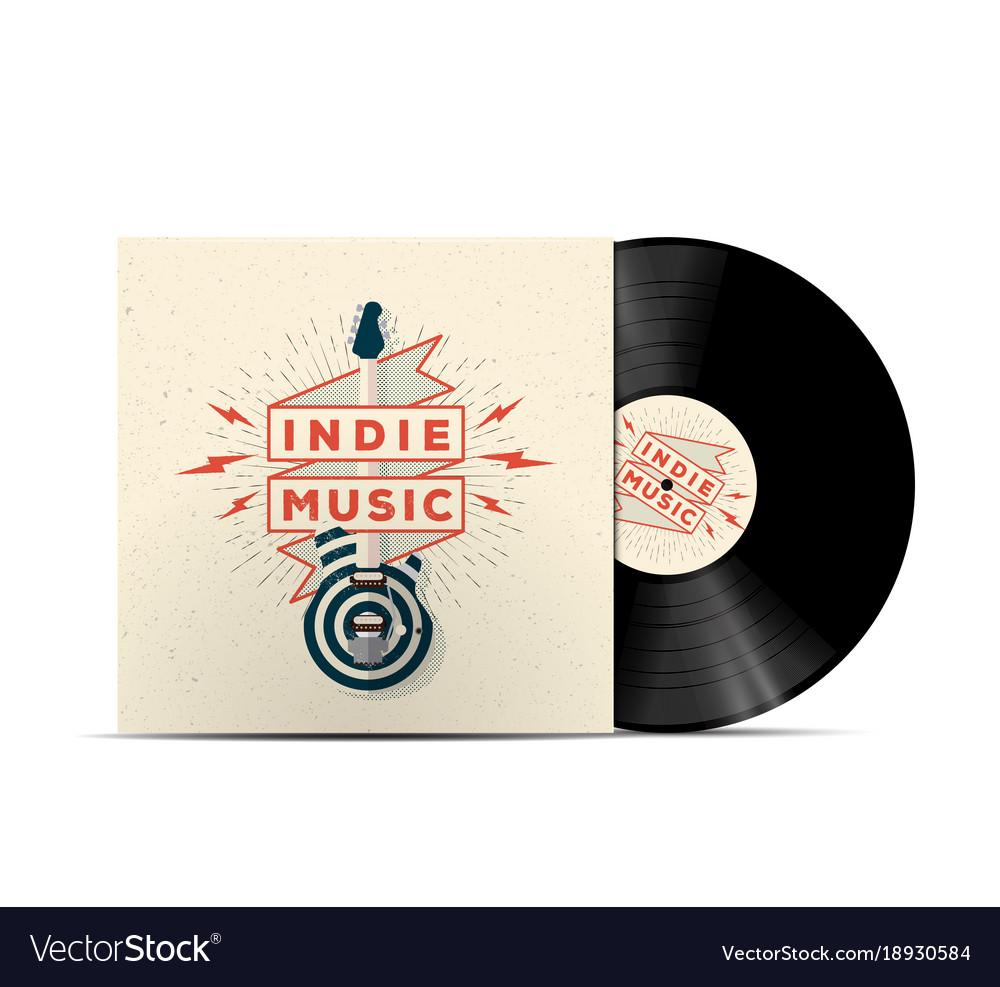 Indie music vinyl disc cover mockup vector image