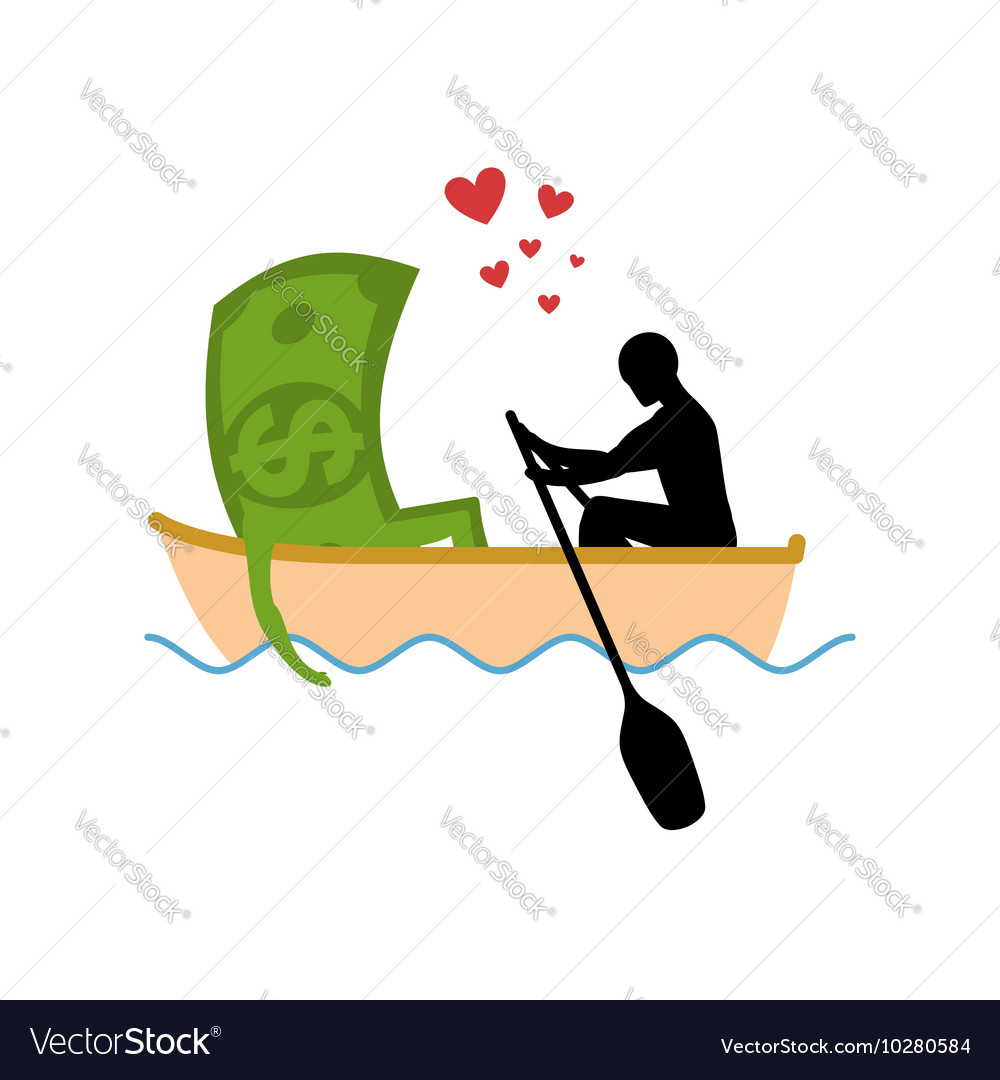 Man and money and ride in boat Lovers of sailing