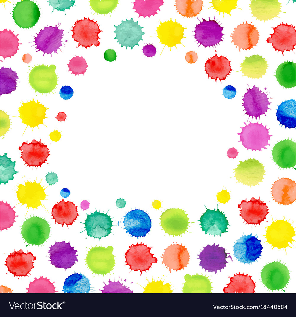 Multicolored watercolor blot template abstract