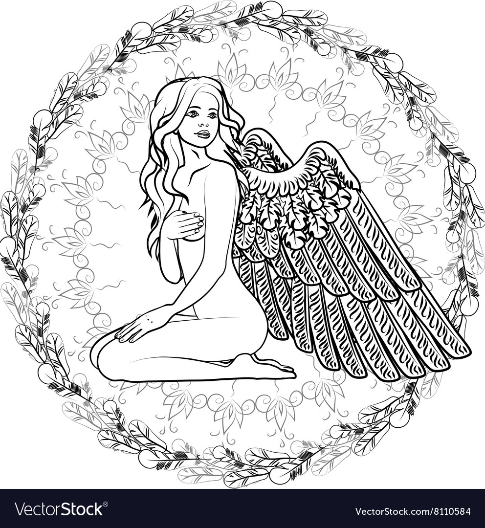 Naked girl angel with wings vector image