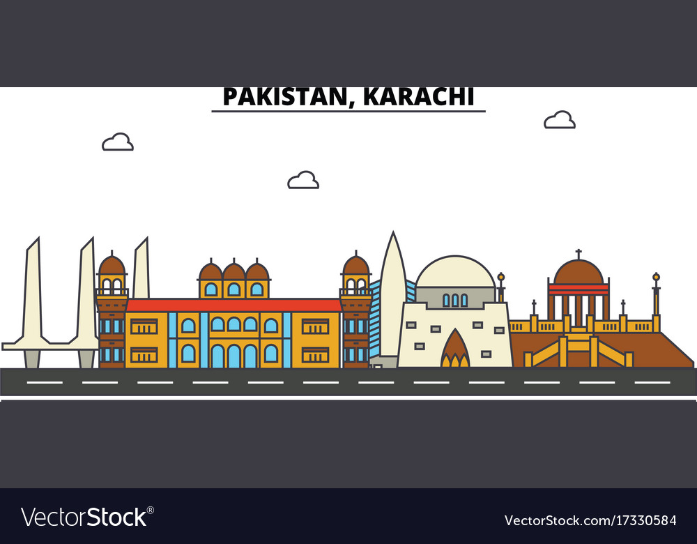 Pakistan karachi city skyline architecture vector image