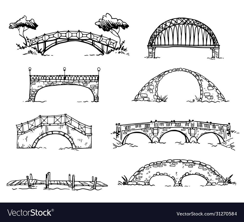 Set various hand drawn bridges sketch