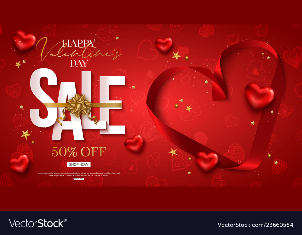 Valentines day sale design with red heart shape