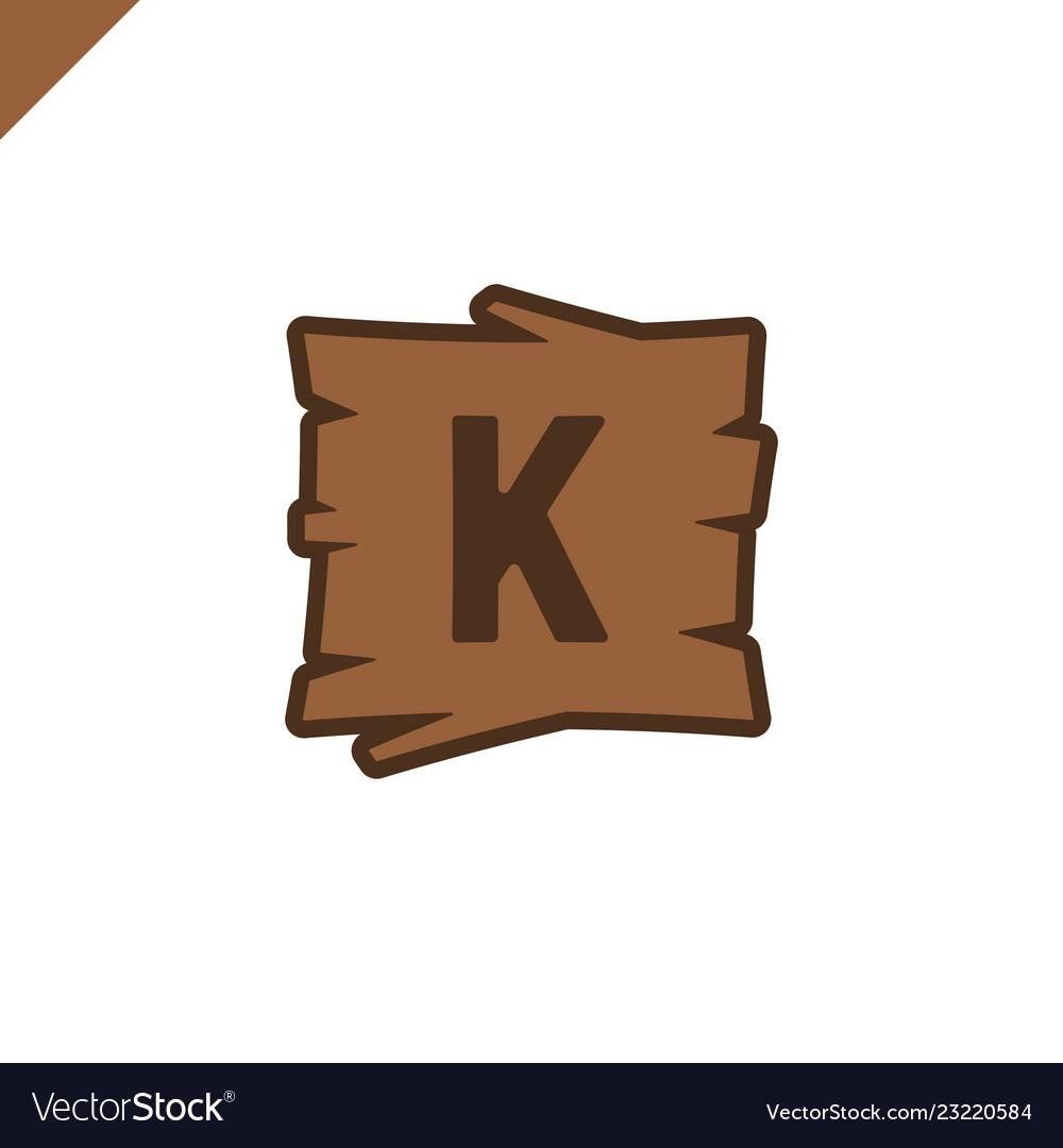 Wooden alphabet or font blocks with letter k