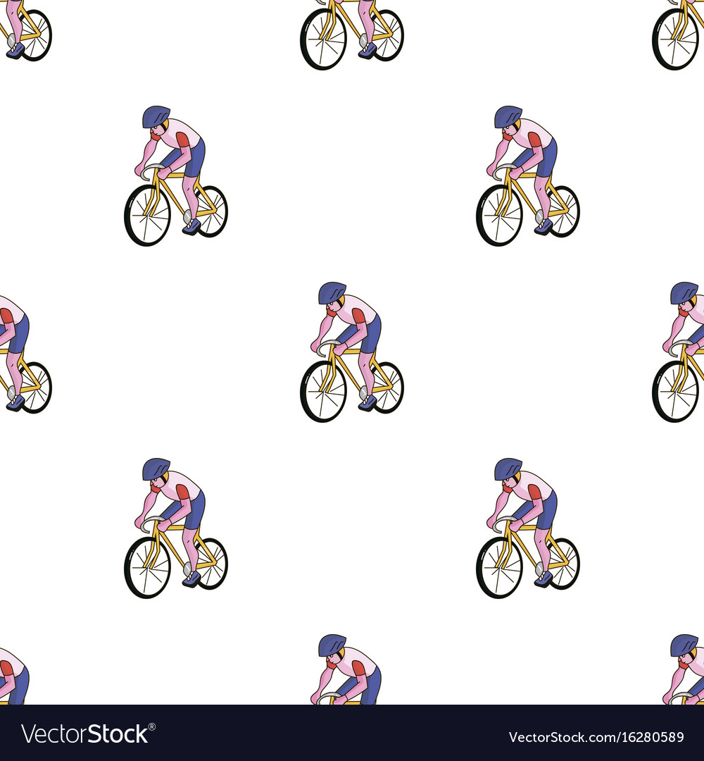 An athlete with a helmet riding his bike on the