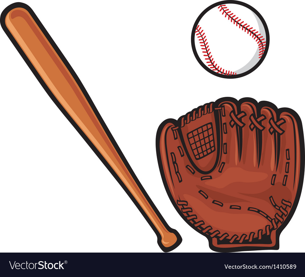 baseball glove ball and bat royalty free vector image