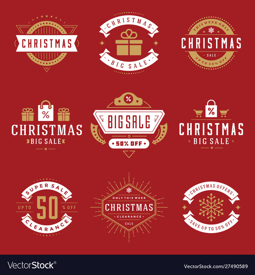 Christmas sale labels and badges with text