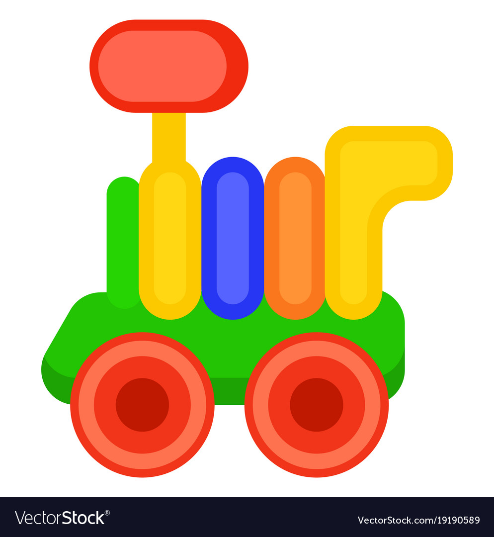 Colorful toy train wagon isolated