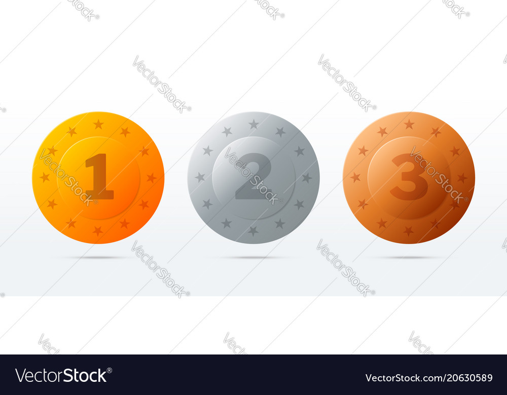 Gold silver bronze medals round award stamps vector image