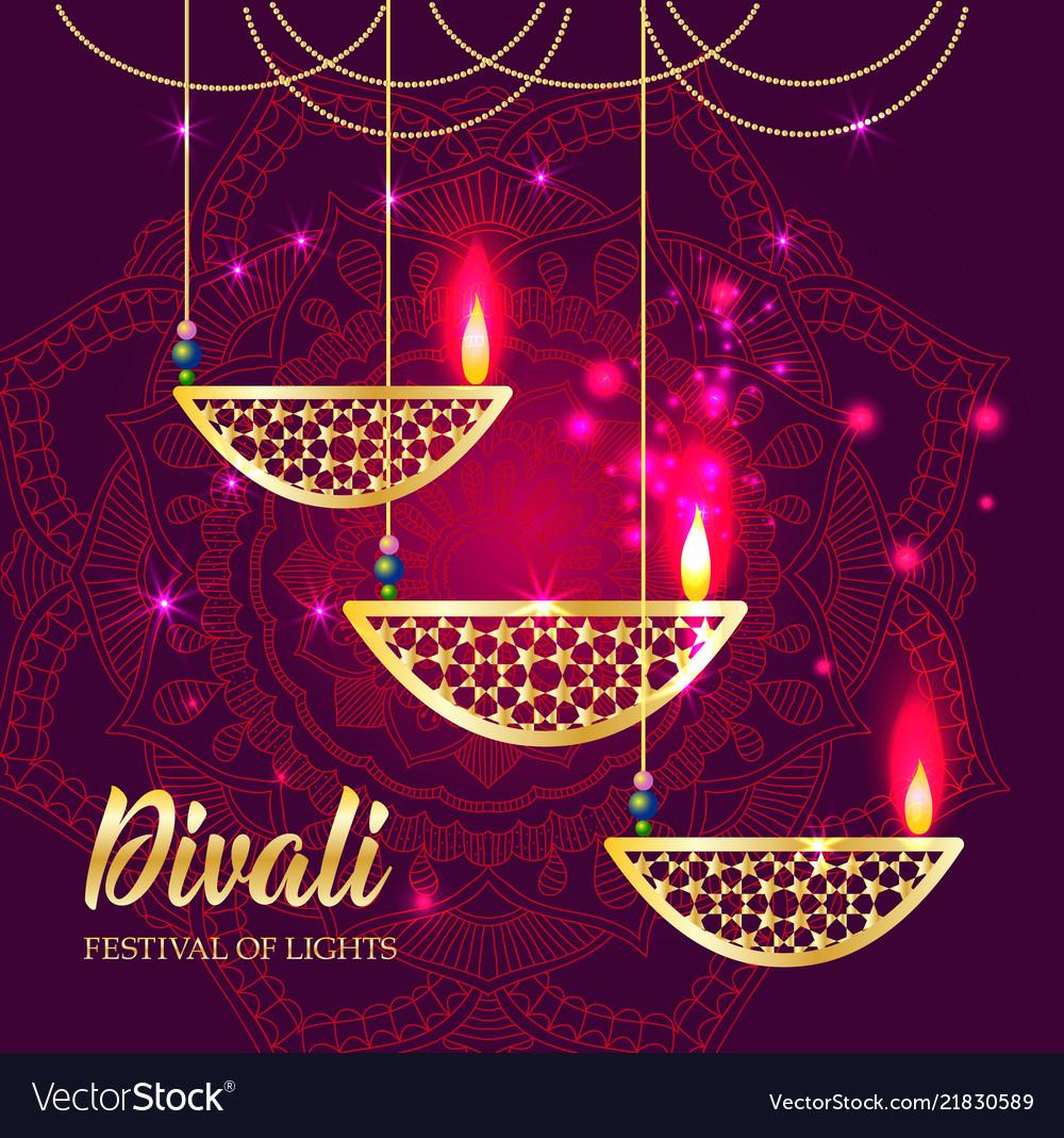 Happy diwali festival of lights retro oil lamp on