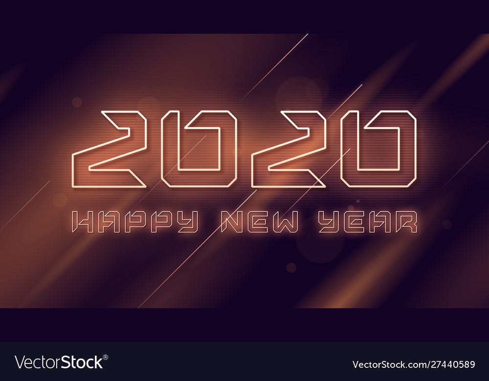 Happy new year 2020 neon flashing design