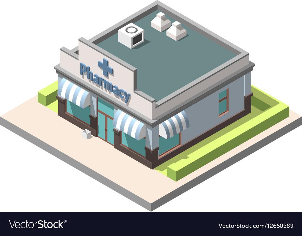 Isometric pharmacy Isolated on white