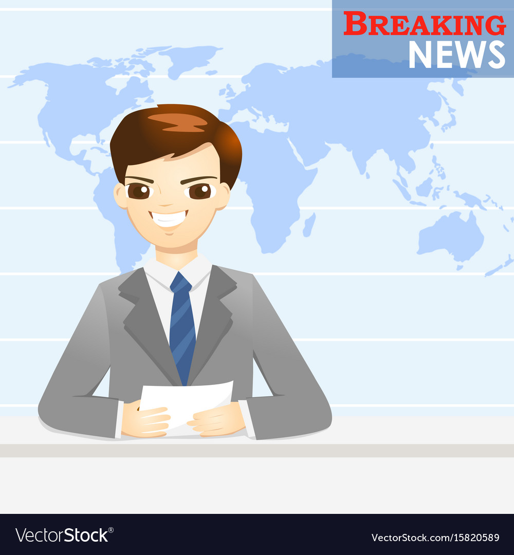 News announcer telling news in studio vector image