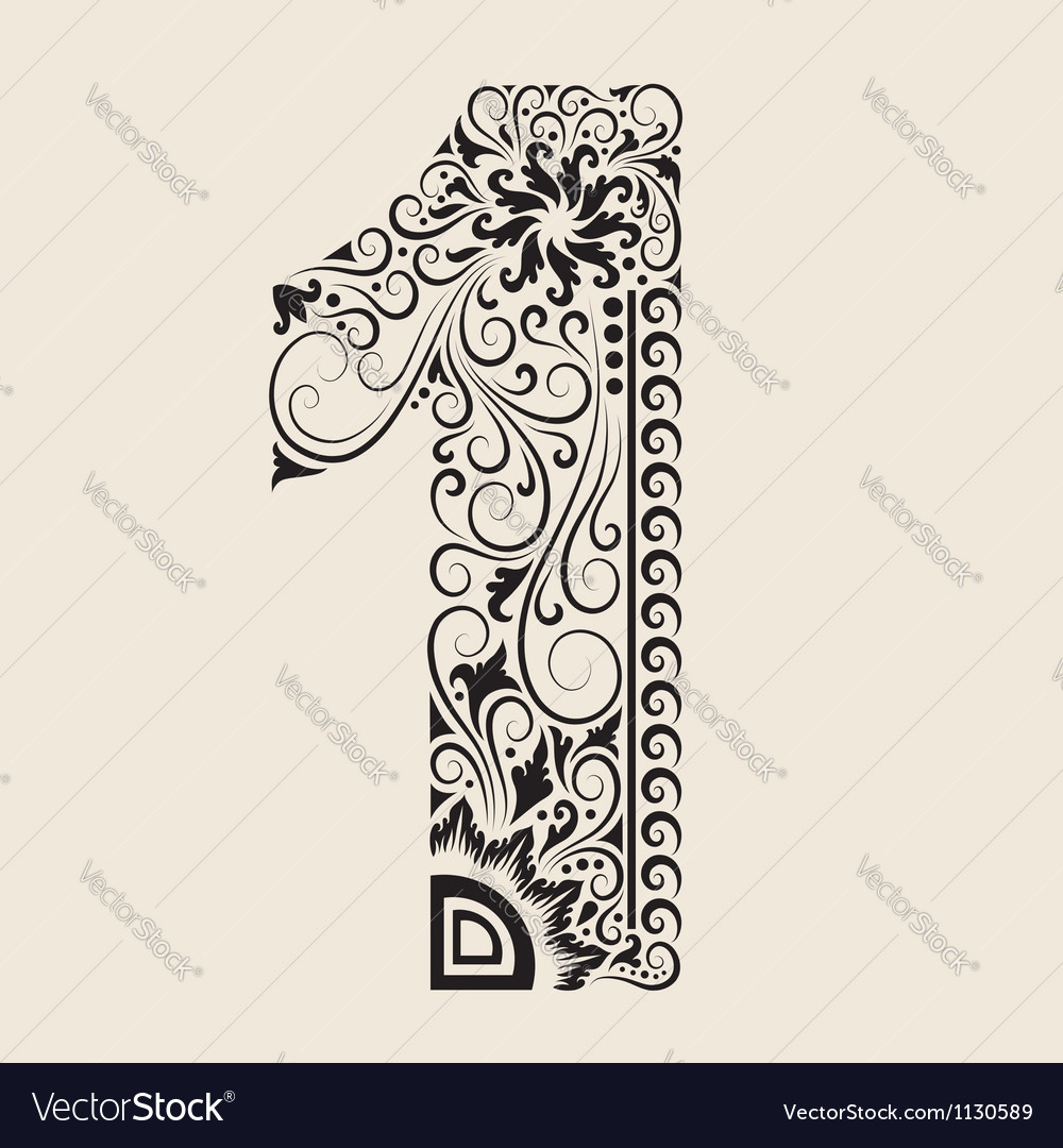 e7a909fceb7af Number 1 floral decorative ornament Royalty Free Vector