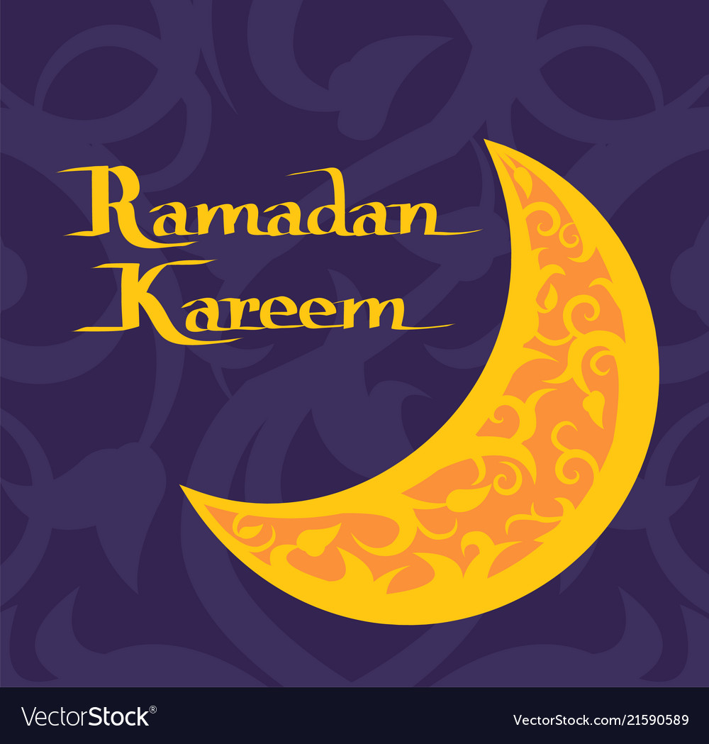 Ramadan kareem poster with crescent moon muslim
