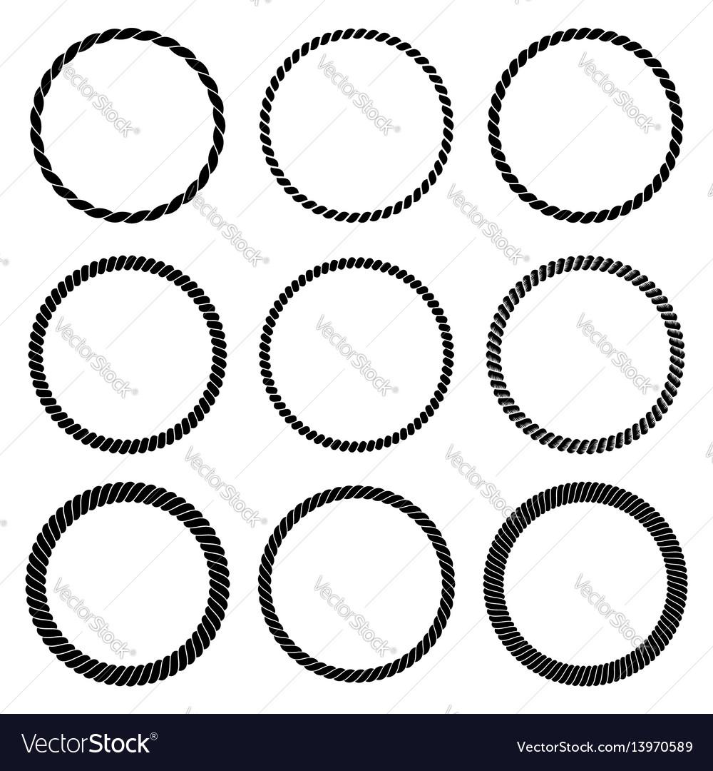 Set round black monochrome rope frame