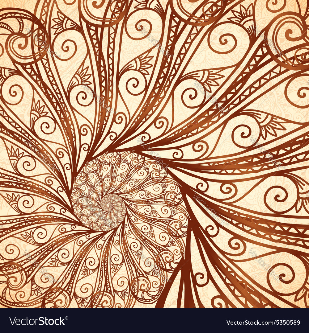 Spiral Background In Henna Tattoo Style Royalty Free Vector