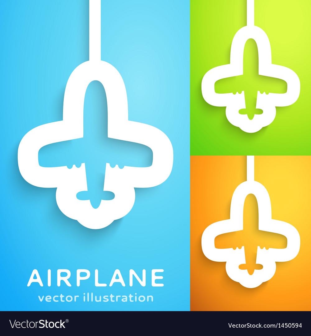 Air plane cut out of paper on color background vector image