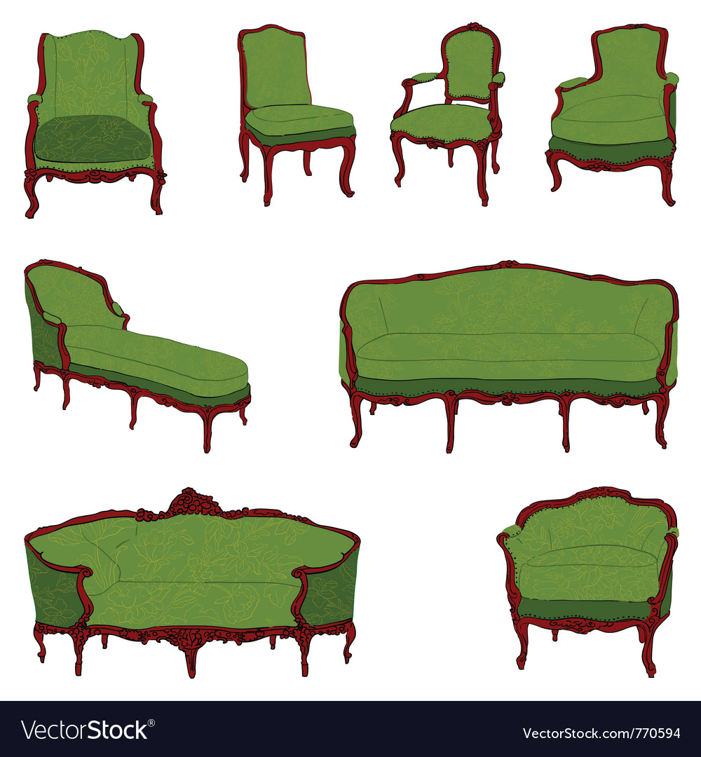 Authentic Rococo Furniture Royalty Free Vector Image