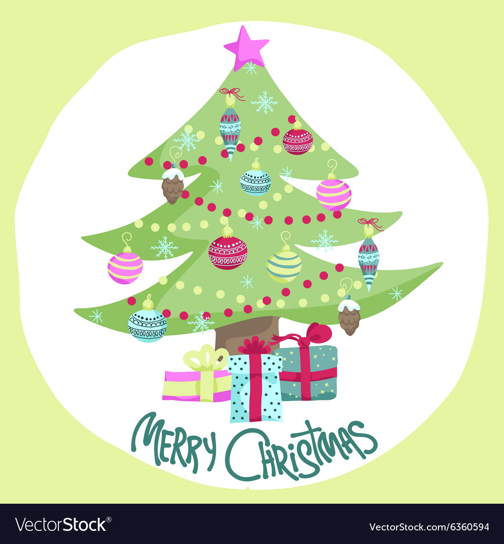 Colorful Christmas Tree Vector.Colorful Christmas Poster With Cute Cartoon Tree