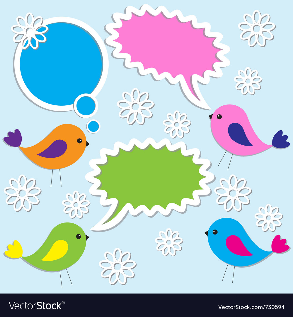 Cute birds with speech bubbles