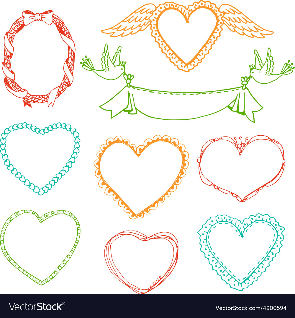 Doodle hand drawn heart shape frames and floral Vector Image