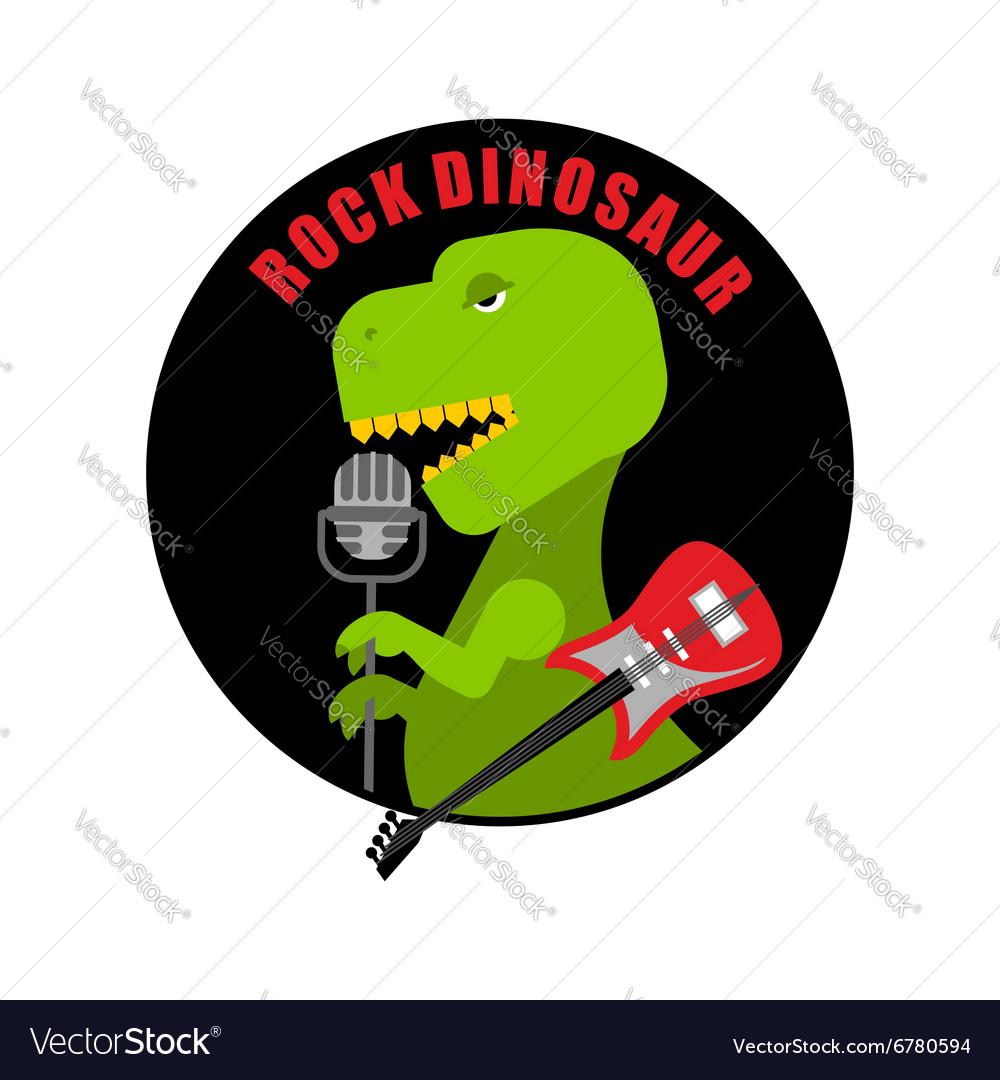 Emblem of rock dinosaur Logo for old fans of rock vector image