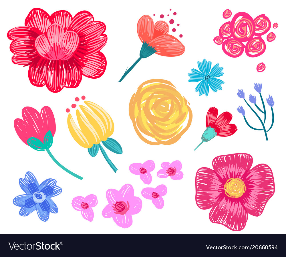 Floral patterns collection on vector image