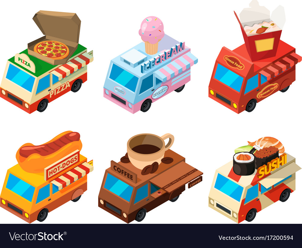 Isometric pictures set of different food