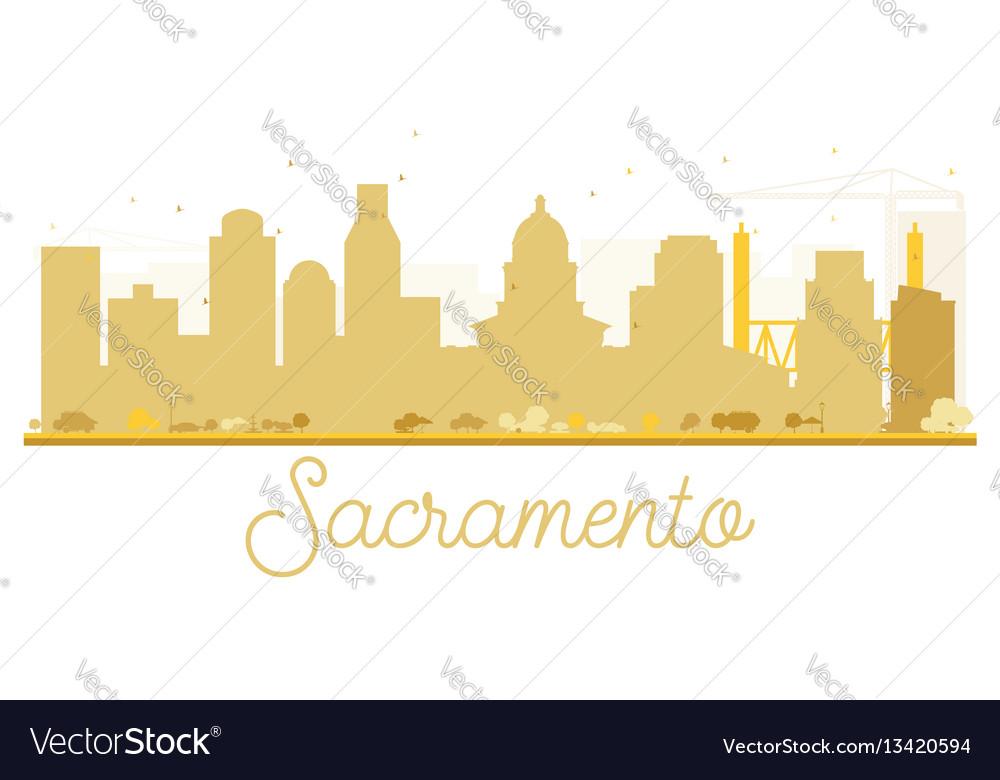 Sacramento city skyline golden silhouette vector image