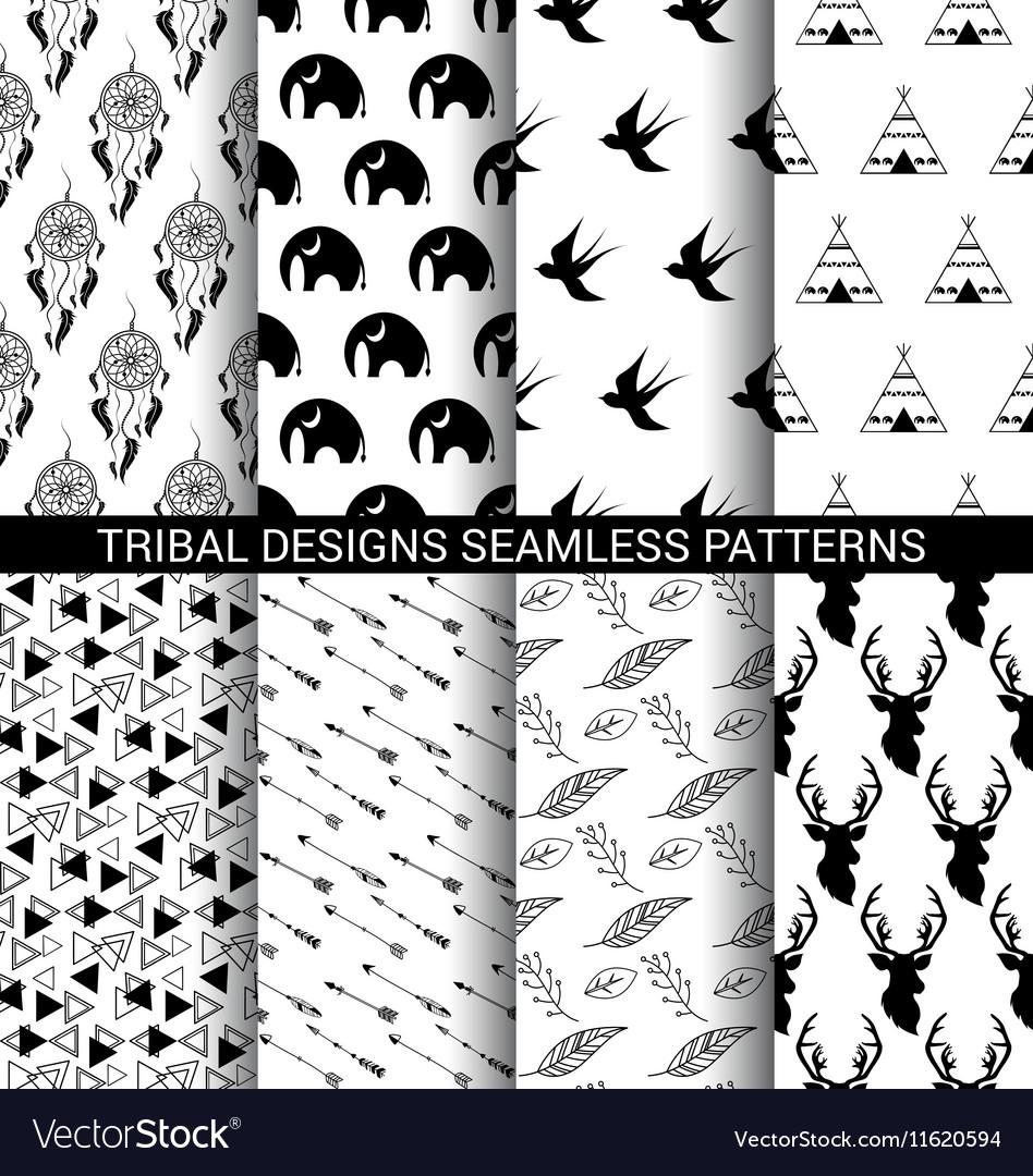 Set tribal designs seamless patterns