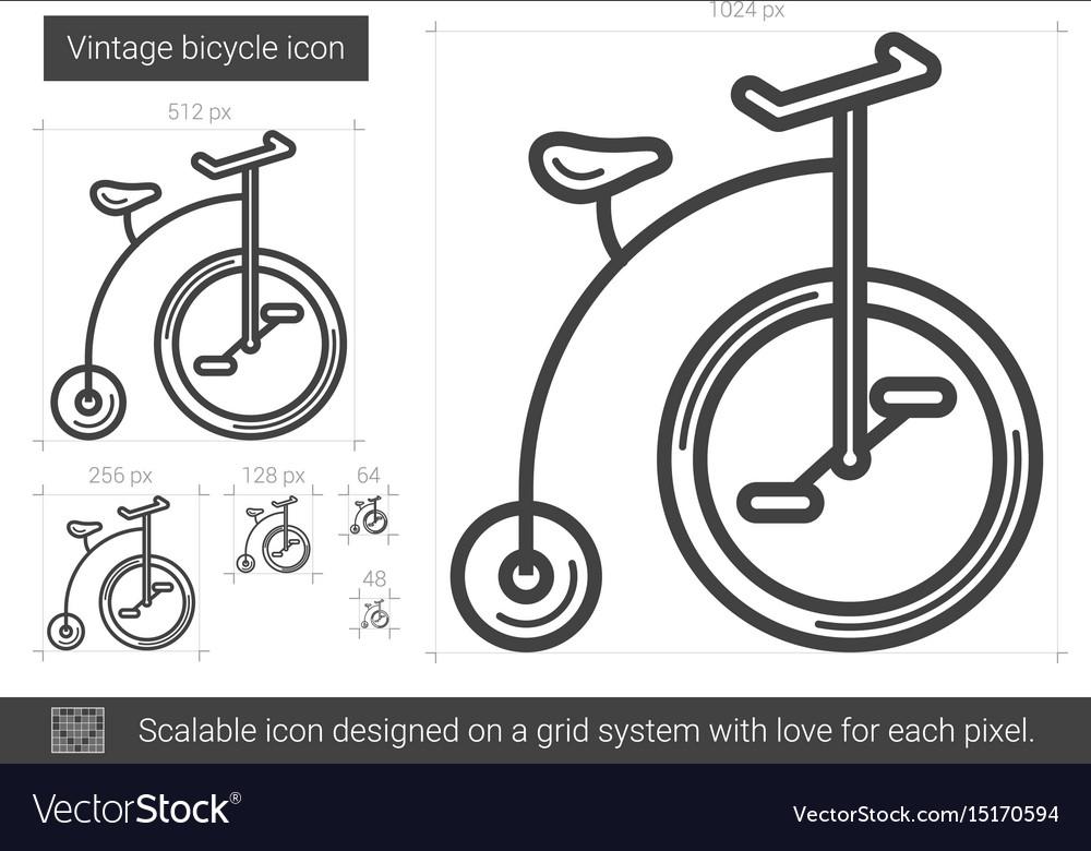 Vintage bicycle line icon vector image