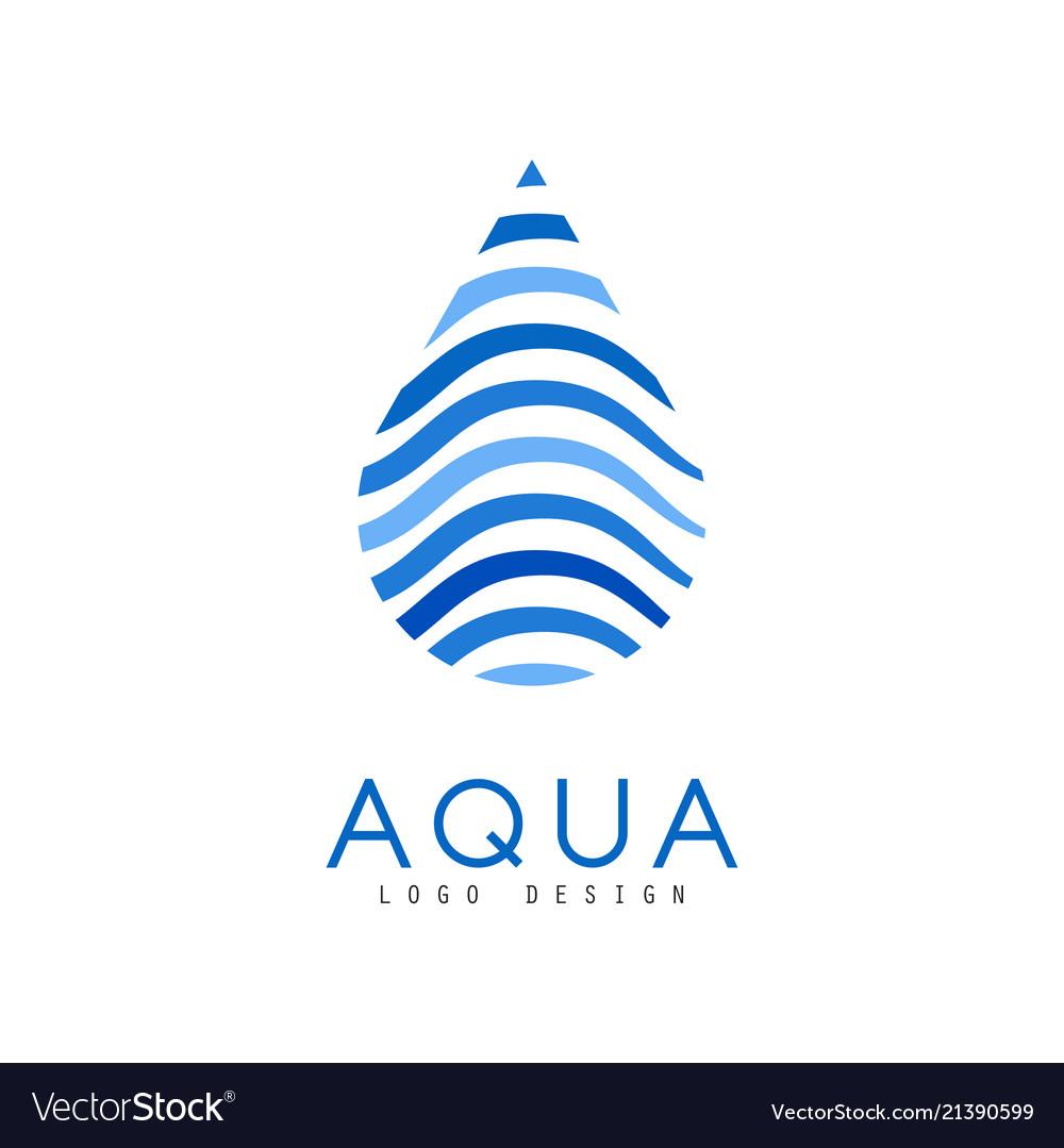 Aqua logo design corporate identity template with