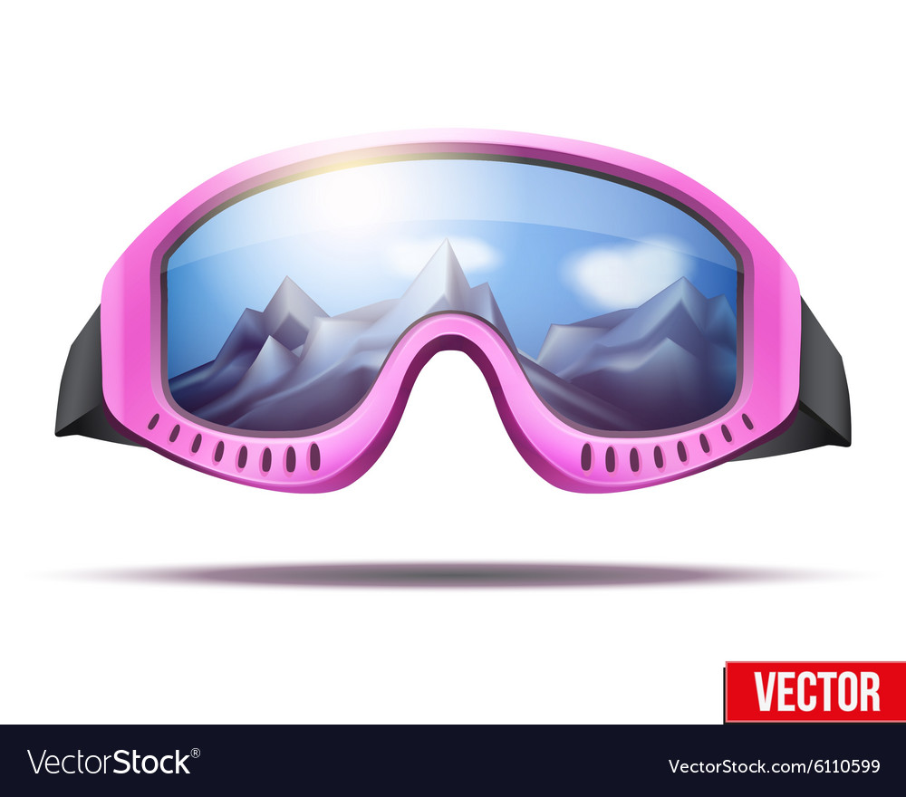 e00b7035ae9 Classic vintage old school pink ski goggles Vector Image