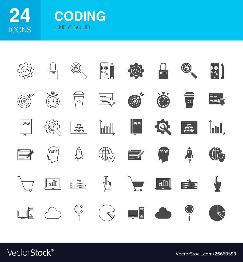 Coding line web glyph icons