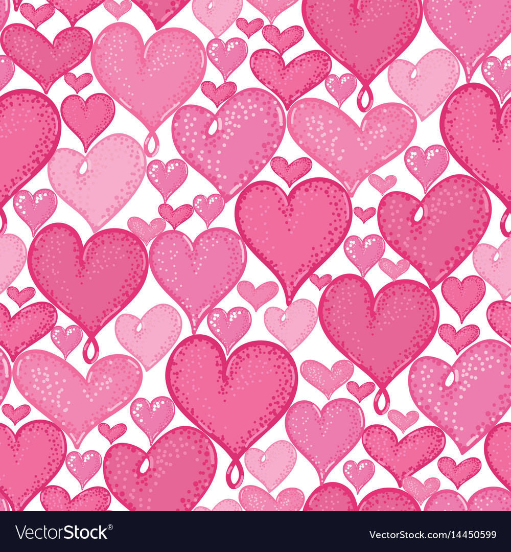Doodle hearts seamless repeat pattern