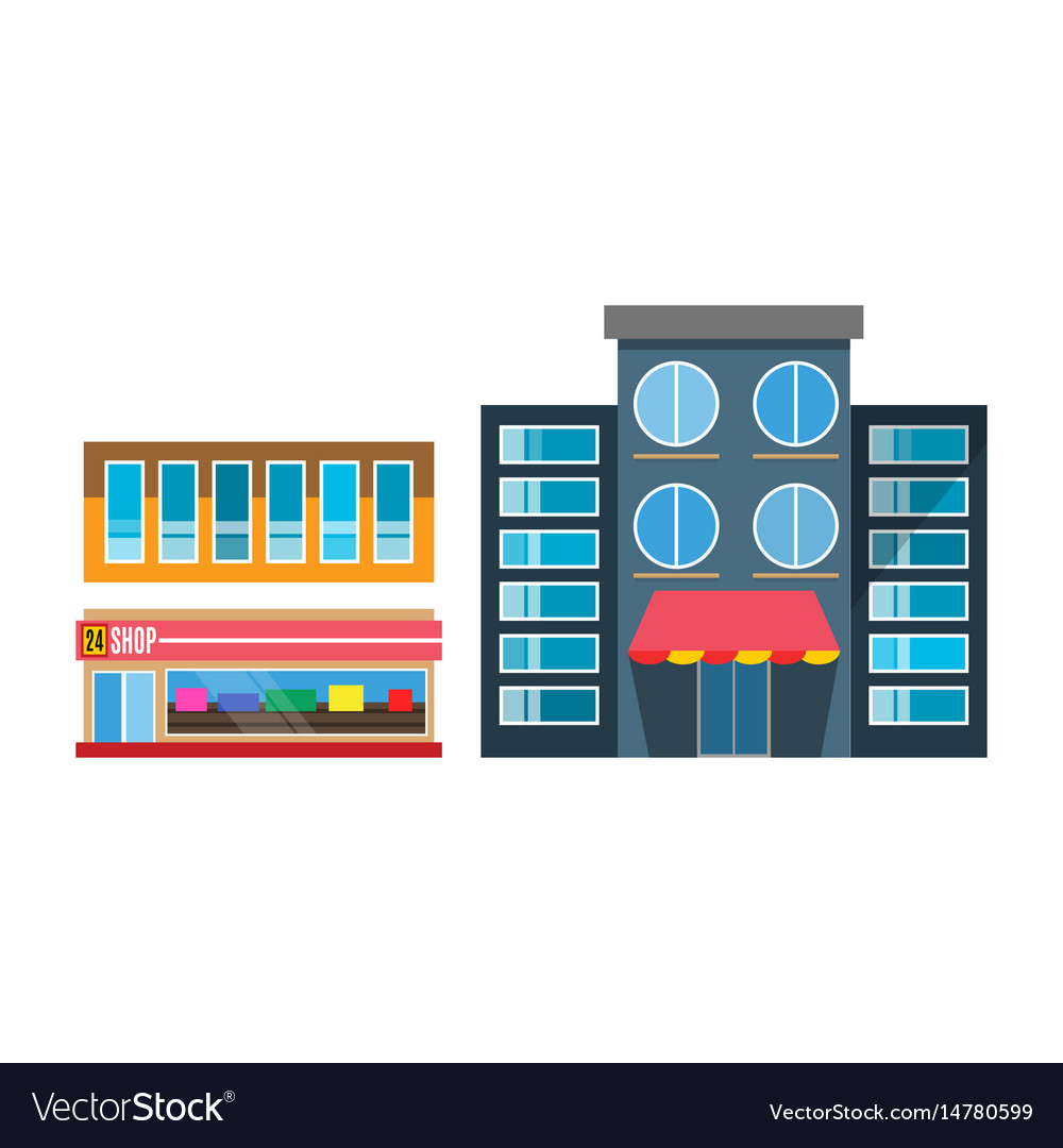 Flat design restaurant shop facade icon