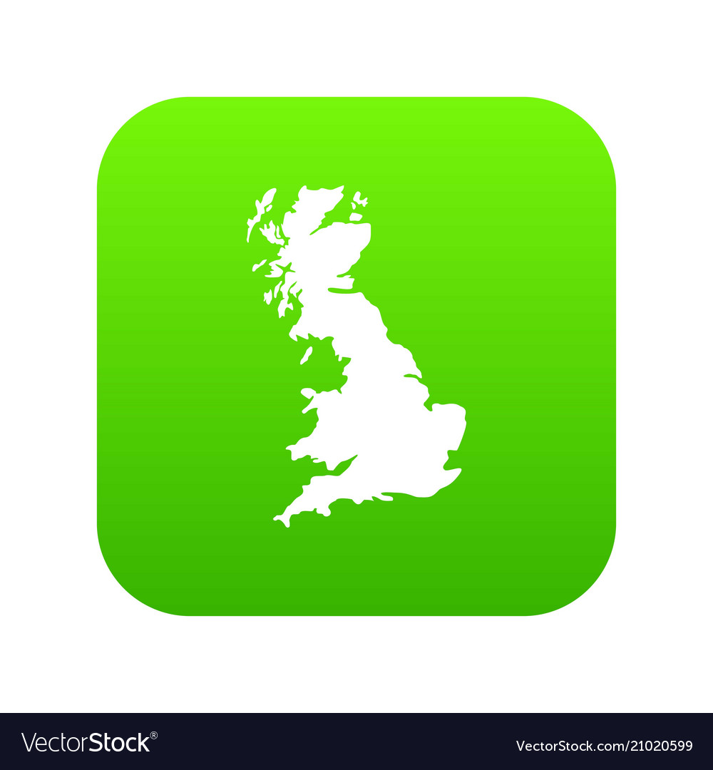 Map of great britain icon digital green