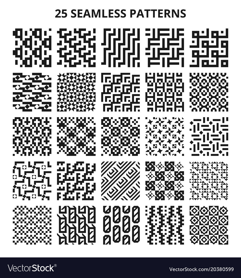 Monochrome seamless geometric patterns abstract