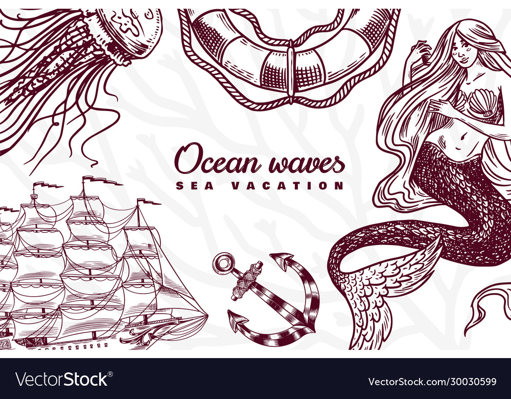 Nautical poster sea banner or background