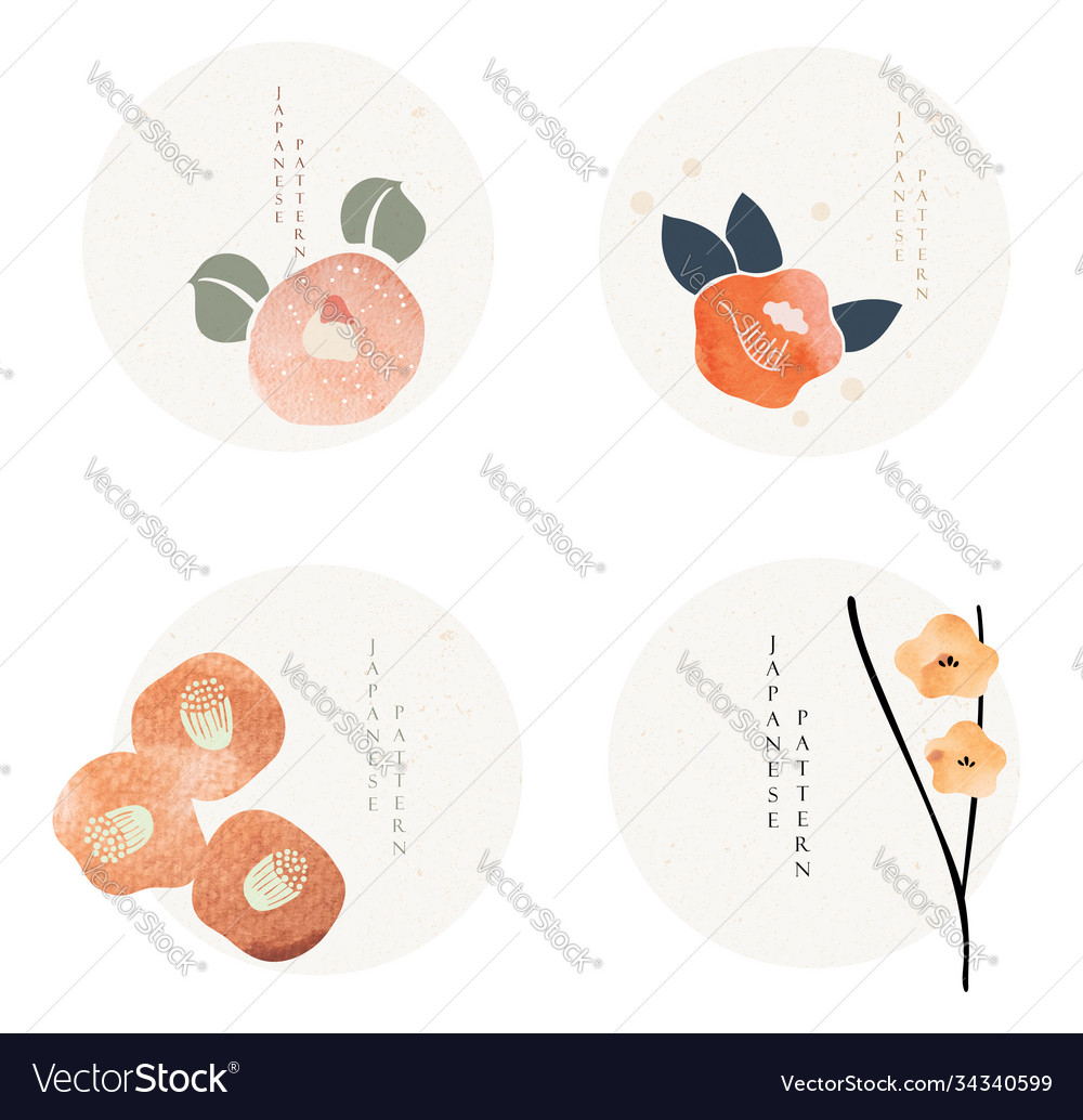 Set flower icons in japanese style with grunge