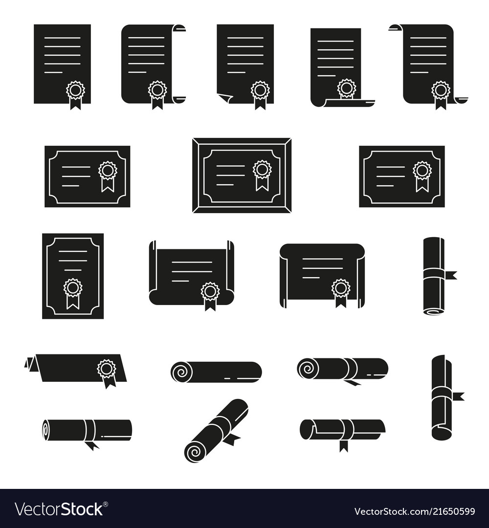 Set of certificate thin line icons simple