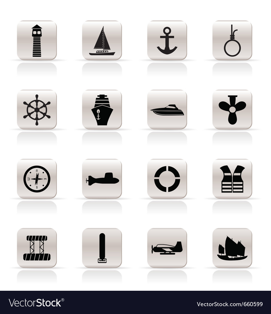 Simple marine and sea icons vector image