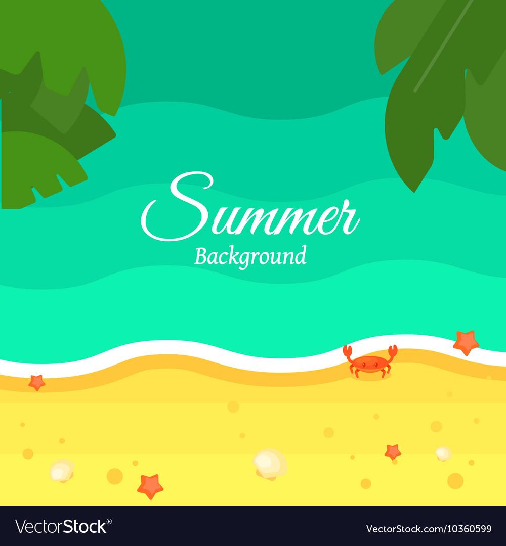 Summer Beach Background in Flat Design