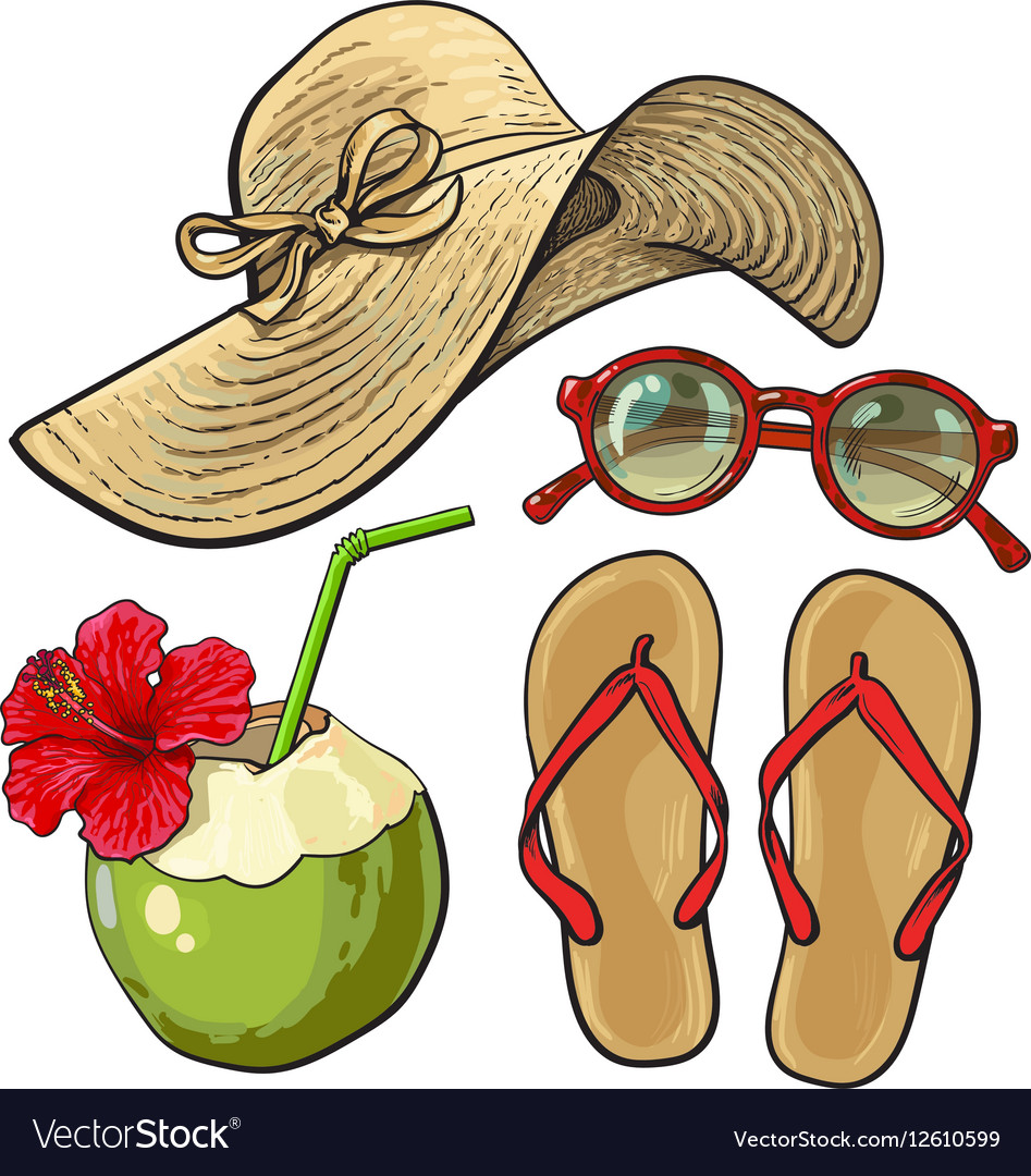 Summer time vacation attributes - hat sunglasses