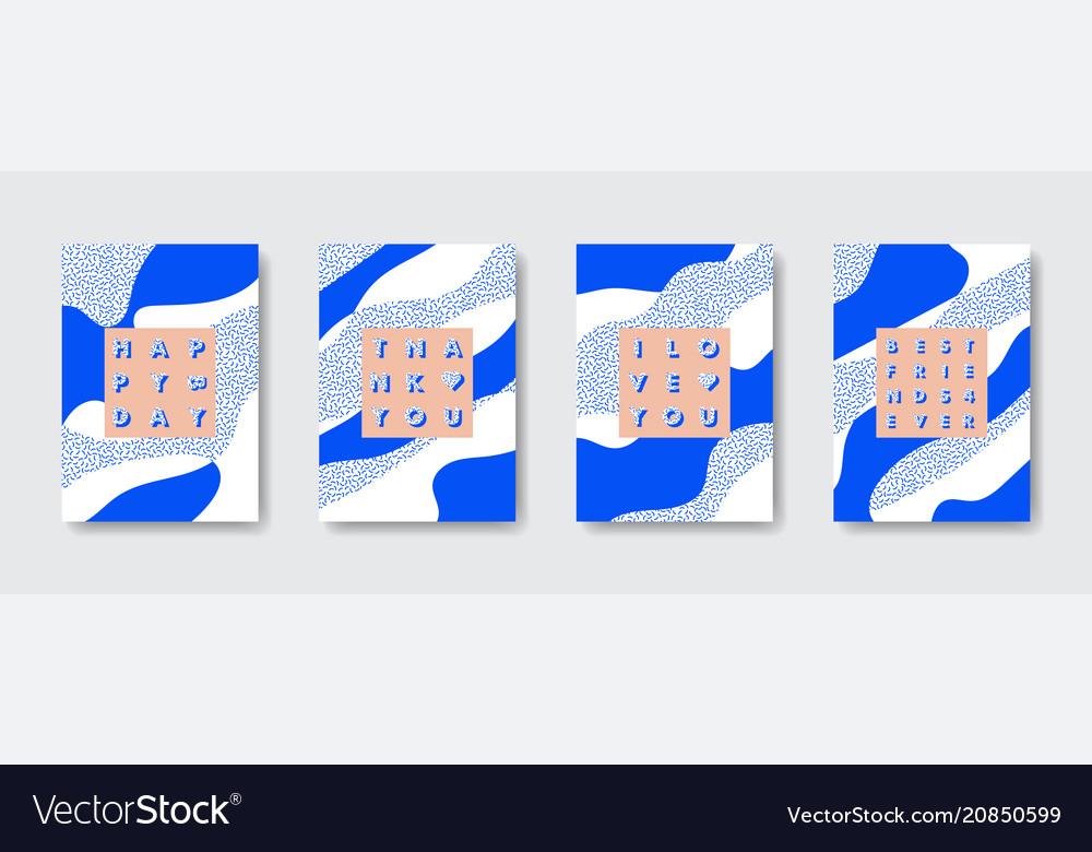 Trendy Birthday Card Set Royalty Free Vector Image