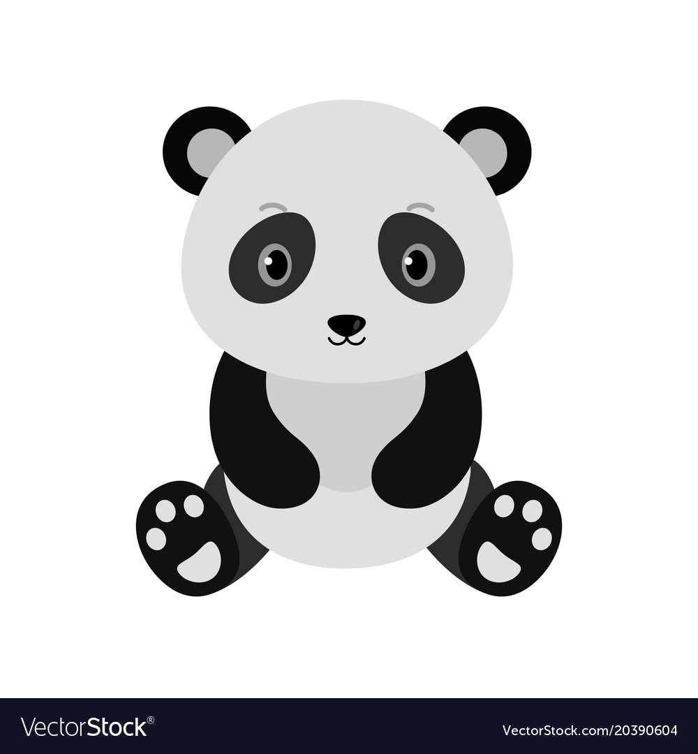 Adorable panda in flat style